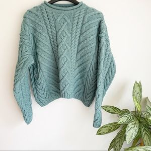 Vintage Lands End Cable Knit Fisherman Sweater